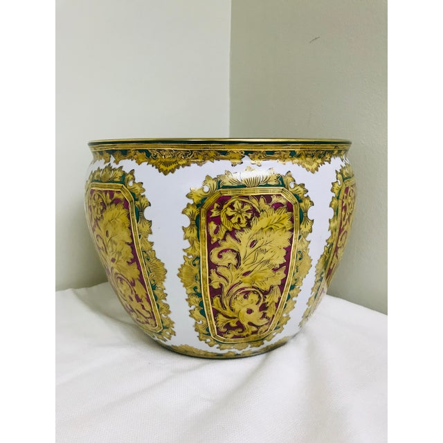 Vintage Andrea by Sadek Chinoiserie Fish Bowl Ceramic Floor Planter Cachepot For Sale - Image 4 of 11