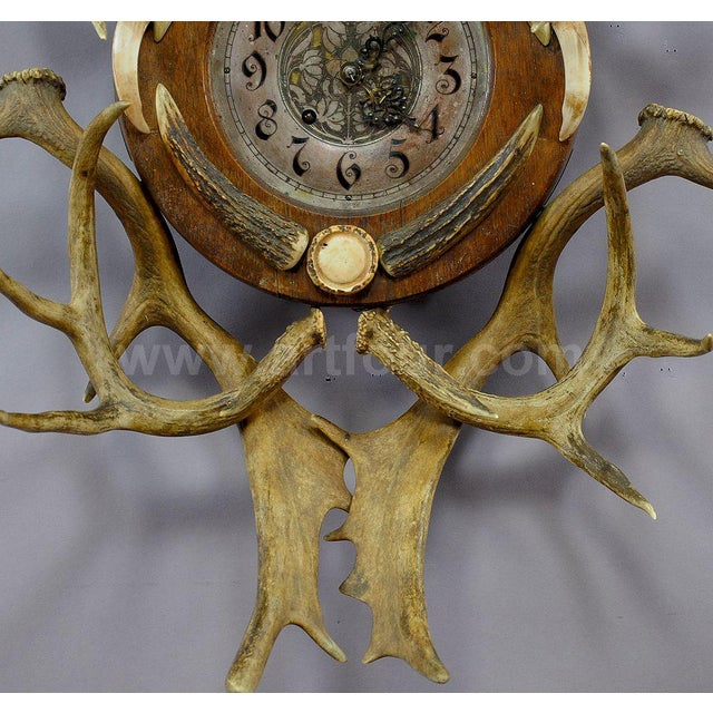 Black Forest Antique Cabin Decor Antler Wall Clock 1900 For Sale - Image 3 of 5