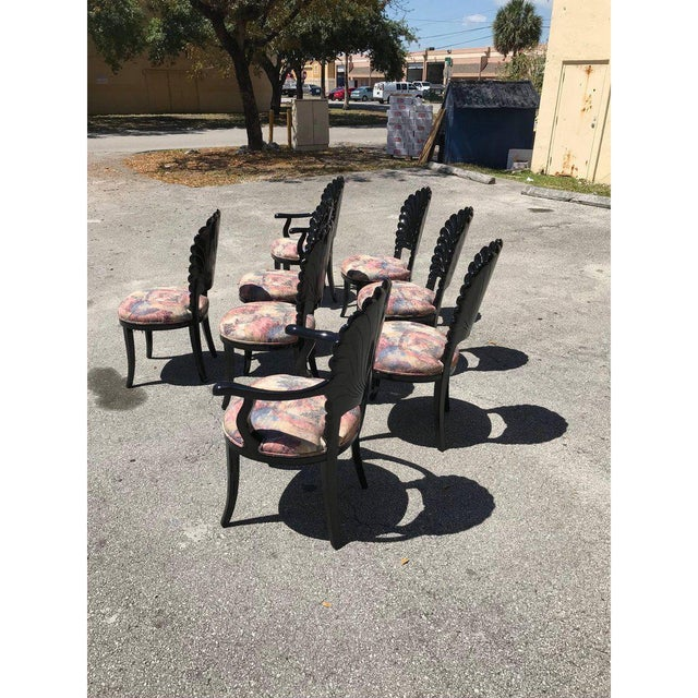 1940s Vintage Italian Ebonized Venetian Grotto Shell Back Dining Chairs- Set of 8 For Sale - Image 10 of 13