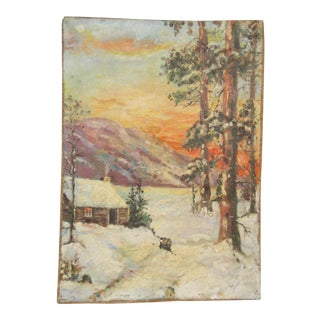 1920s Vintage Cabin & Pine Trees in the Snow Oil Painting For Sale