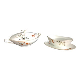Japanese Cherry Blossom SoupTureen and Sauce Boat With Butterfly Handle - by Noritake For Sale