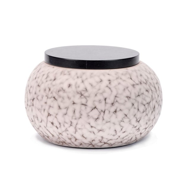 2010s Light Charcoal Handmade Patterned Earthenware Large Round Box With Lacquer Lid by Gilles Caffier For Sale - Image 5 of 5