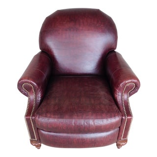 Craft Work Faux Alligator Leather Club Chair Recliner For Sale