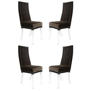 1970S vintage CHROME AND LUCITE DINING CHAIRS- set of 4 For Sale