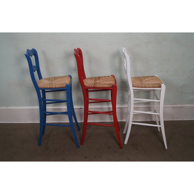 French Country Rush Seat Bar Stools - Set of 3 - Image 3 of 10