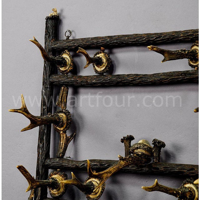 Wooden Carved Coat Rack With Antler Carvings Ca. 1900 For Sale - Image 4 of 8