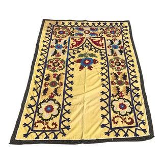 Handmade Yellow Suzani Textile For Sale