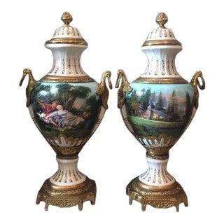 French Louis XVI Big Porcelain Vases - a Pair For Sale