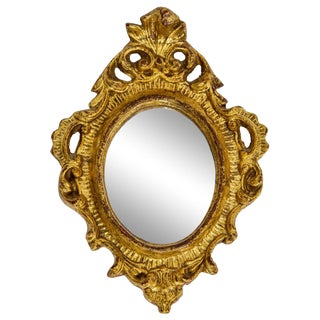 Petite Italian Gilded Oval Mirror For Sale