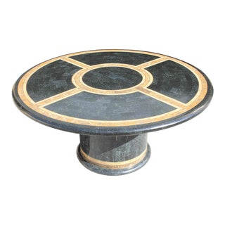 1970s Art Deco Maitland Smith Tessellated Stone Round Dining Table For Sale