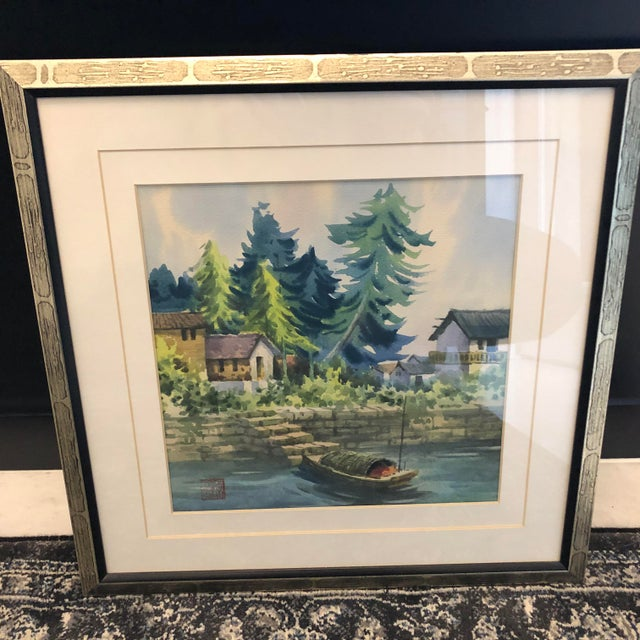 72151929c 1970s Vintage Chinese Watercolor Paintings - A Pair For Sale - Image 9 of 12