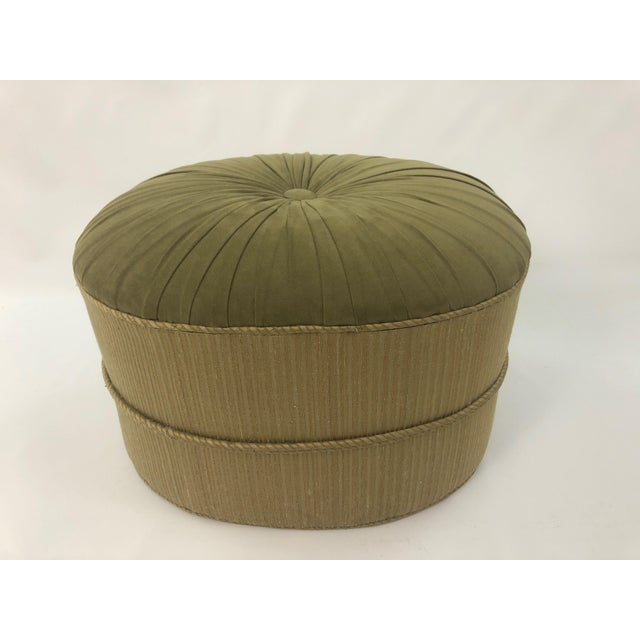 Green 1990s Vintage Schnazzy Oval Ultrasuede Ottoman Pouf For Sale - Image 8 of 8