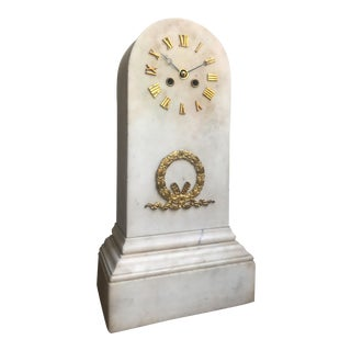 French Bronze & White Marble Neoclassical Mantel Clock For Sale