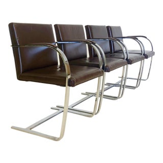 Mid Century Modern Leather and Chrome Brno Armchairs by Mies Van Der Rohe For Sale