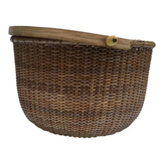 Authentic Nantucket Mahogany Basket For Sale