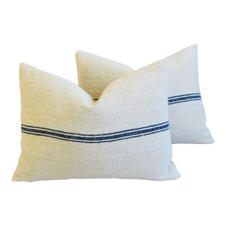 "French Dark Blue Striped Grain Sack Feather/Down Pillows 24"" X 18"" - Pair"