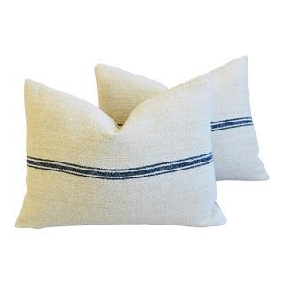 "French Dark Blue Striped Grain Sack Feather/Down Pillows 24"" X 18"" - Pair"