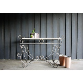 French Scrolled Iron Butcher / Pastry Table With White Marble Top Preview