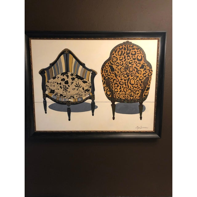 Large Original Painting of Two Antique Chairs For Sale - Image 11 of 11