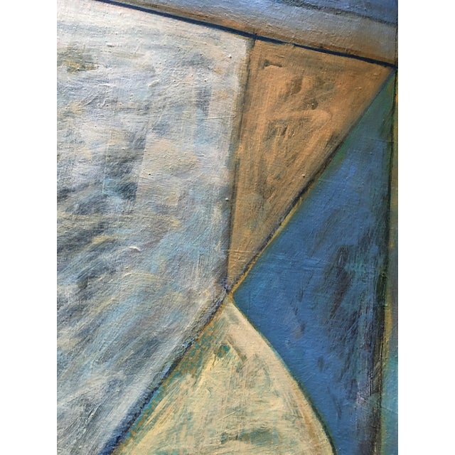 Blue Vintage 80s Geometric Abstract Oil Painting Signed Mariko Nutt For Sale - Image 8 of 9