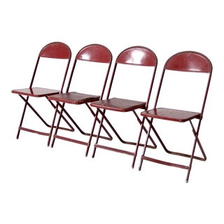 Vintage Mid Century Red Metal Folding Chairs- Set of 4 For Sale