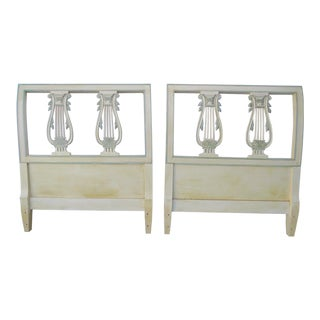 French Harp Shape Painted Twin Size Pair of Headboards For Sale