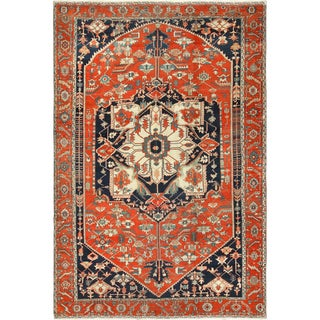 Antique Serapi Persian Red Rug - 9′10″ × 14′ For Sale