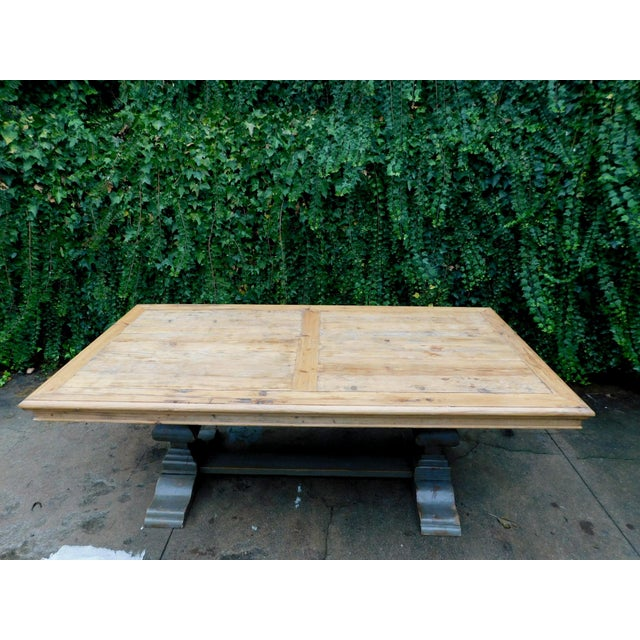 Rustic Palazzo Rustic Trestle Pine Dining Table For Sale - Image 3 of 12