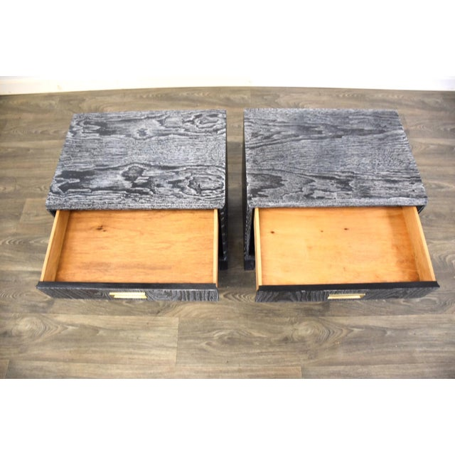 Black Cerused Mid Century Modern Nightstands - a Pair For Sale - Image 9 of 13