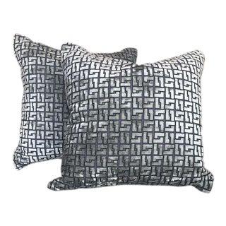 Holly Hunt Geometric Interlock Cut Velvet Pillows - a Pair