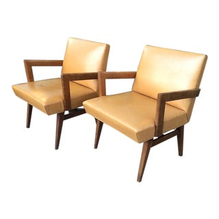 Mid-Century Modern Vinyl Upholstered Lounge Chairs - A Pair