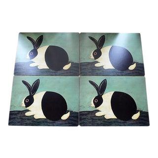 Vintage 1980s Warren Kimble Pimpernel Bunny Rabbit Placemats - Set of 4 For Sale