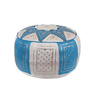 Fes Sky Blue Leather Pouf For Sale