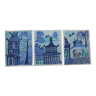 Chinoiserie Blue Cleo Landscape Paintings - Set of 3 For Sale
