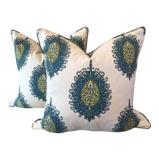 "Duralee ""Westminster"" Aqua/Green 22"" Pillows - a Pair For Sale"