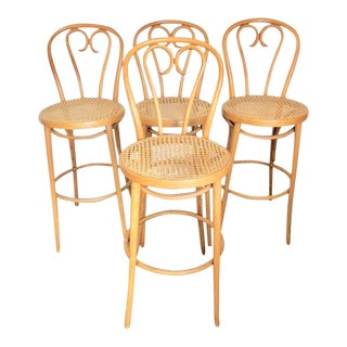 Four Thonet Bentwood Bar Stools by Radomsko For Sale