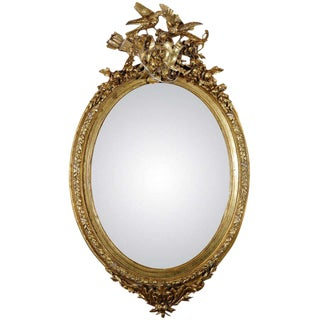 French Gilt Mirror with Love Birds For Sale
