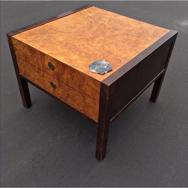 Burl Wood & Mahogany 2 Drawer Side Table - Image 4 of 10