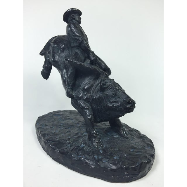 Austin Productions 1979 Austin Productions Bull Cowboy Rider Sculpture For Sale - Image 4 of 11