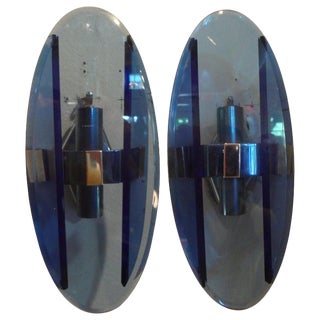 1960's Italian Fontana Arte Style Blue Glass Sconces-A Pair For Sale