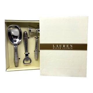 New Ralph Lauren Equestrian Braided Bar Tools Ice Scoop Bottle Opener & Jigger – Set of Three For Sale
