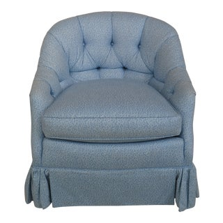 William Allen Decorator Blue Tufted Upholstered Club Chair