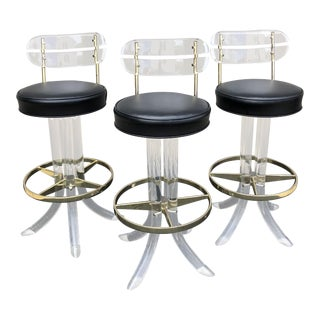1970s Vintage Lucite Bar Stools- Set of 3 For Sale