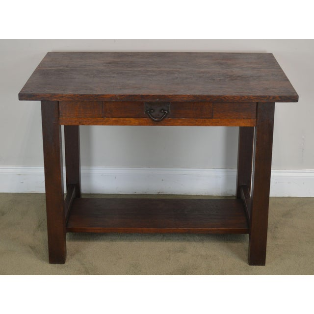 Mission Mission Oak Antique One Drawer Table Writing Desk Possibly Stickley For Sale - Image 3 of 13