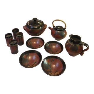 Mid-Century Rust and Black Colored Glazed Stoneware - 11 Piece Set For Sale