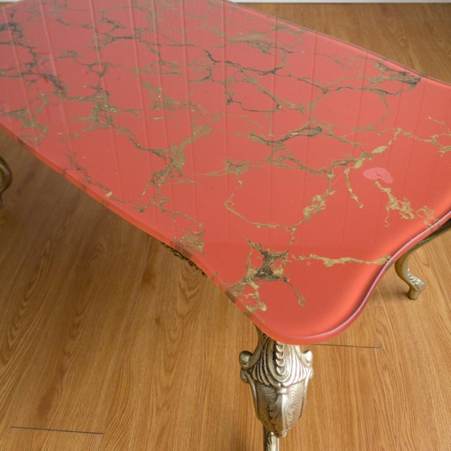 Hollywood Regency Coffee Table | Cabriole Legs Marbled Red Glass For Sale - Image 10 of 13