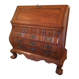 Asian Secretary Writing Desk With Flip Down Top and Drawers For Sale