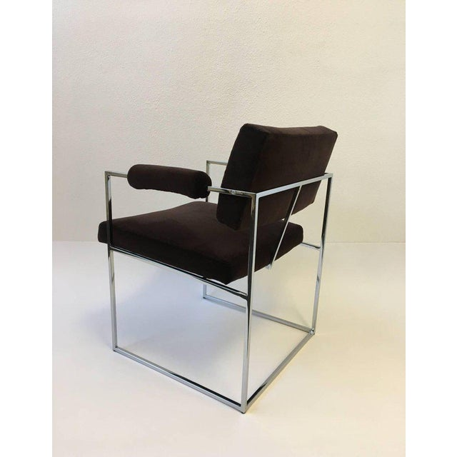 Textile Set of Six Chrome Armchairs by Milo Baughman for Thayer Coggin For Sale - Image 7 of 11