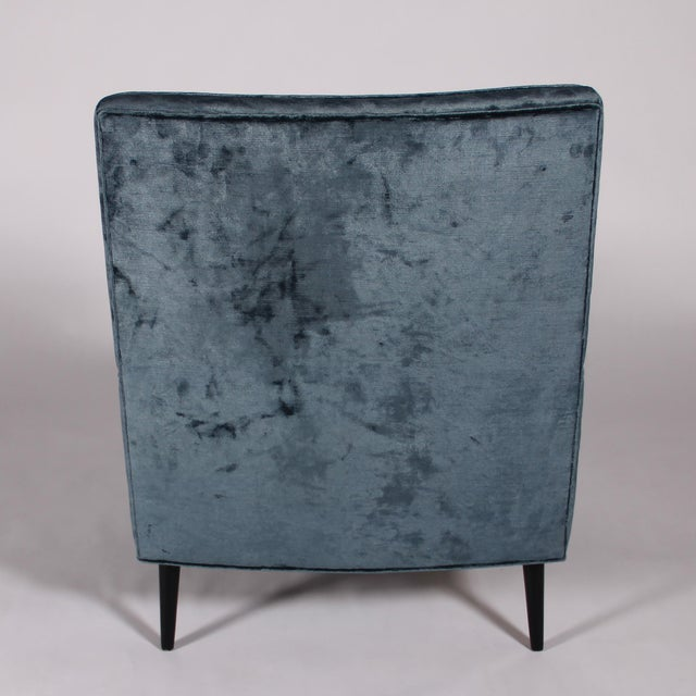 Wood 1950s Blue Velvet Lounge Chair and Ottoman For Sale - Image 7 of 11