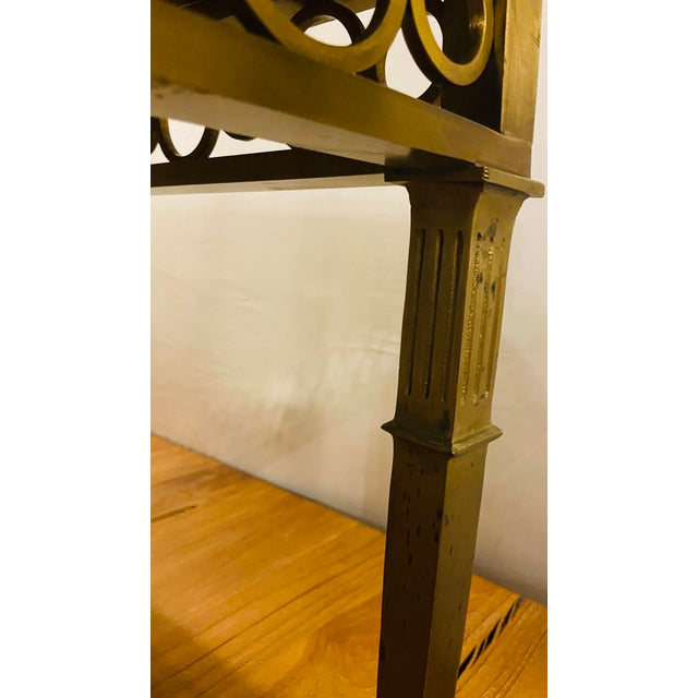 Black Hollywood Regency Granite Top on Brass Base Center Table For Sale - Image 8 of 13